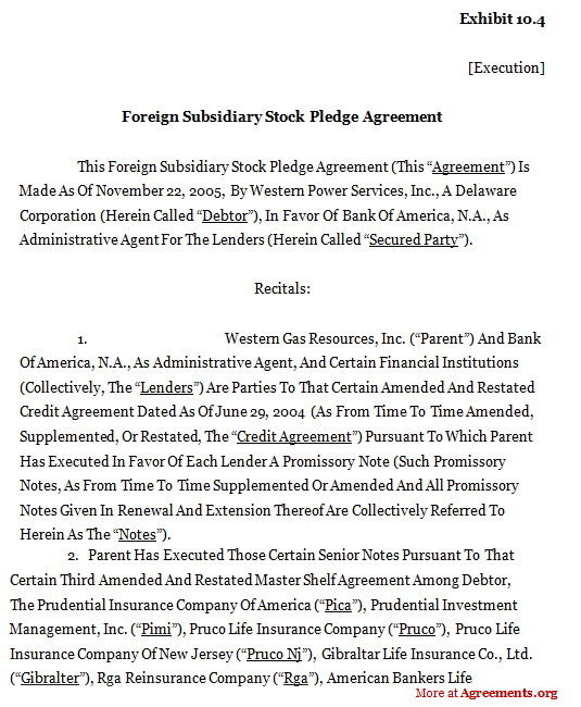 FOREIGN SUBSIDIARY STOCK PLEDGE AGREEMENT