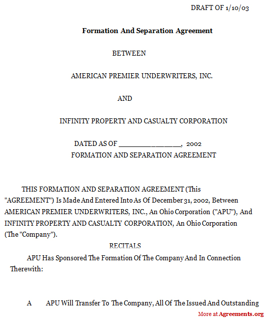 FORMATION AND SEPARATION AGREEMENT