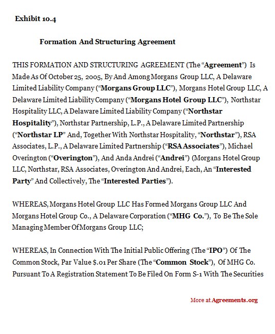 FORMATION AND STRUCTURING AGREEMENT