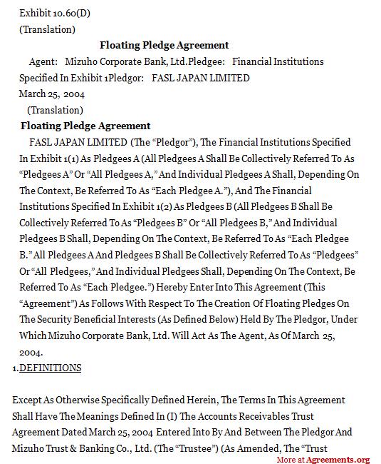 Floating Pledge Agreement