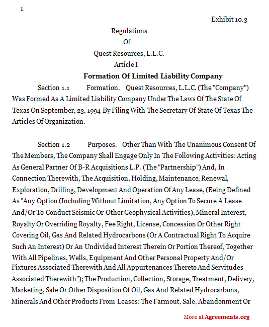 Formation of Limited Liability Company Agreement
