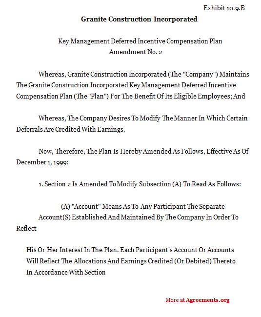 Download Granite Construction Incorporated Agreement Template