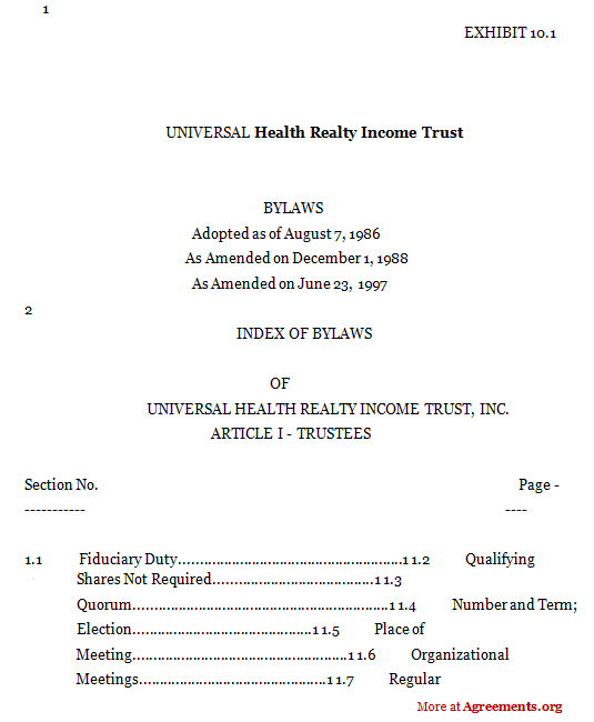 HEALTH REALTY INCOME TRUST Agreement