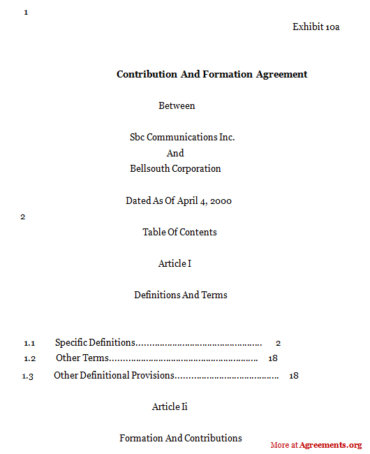 CONTRIBUTION AND FORMATION AGREEMENT