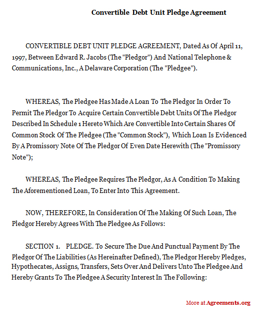 Convertible Note Agreement Template  Convertible Debt Unit Pledge