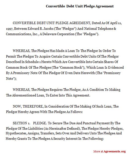 CONVERTIBLE DEBT UNIT PLEDGE AGREEMENT