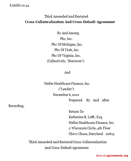 Cross-collateralization Cross-default Agreement