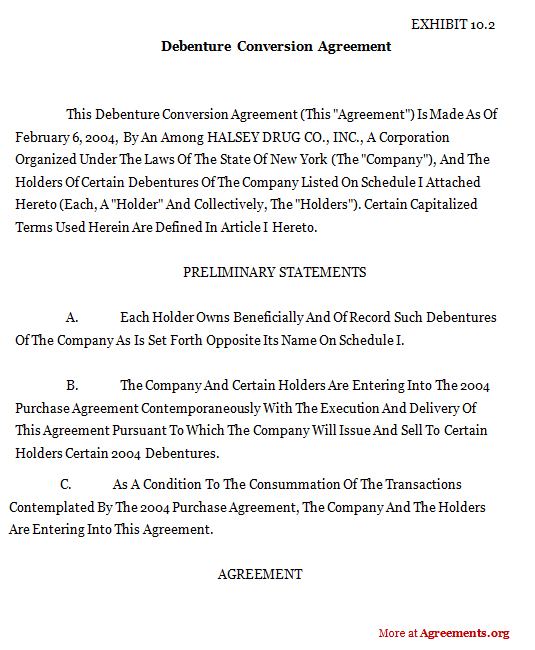 Download Debenture Conversion Agreement Template