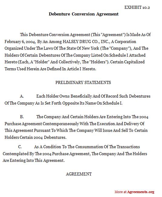 Conversion of Debenture Agreement, download Conversion Debenture Template