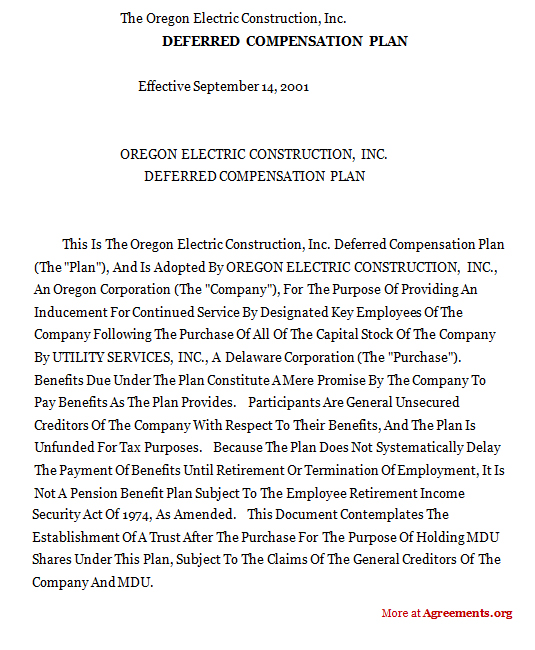 DEFERRED COMPENSATION PLAN Agreement