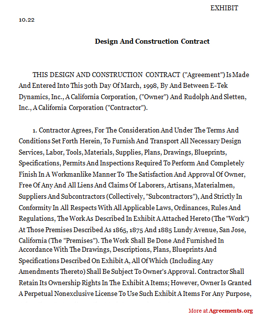 DESIGN AND CONSTRUCTION CONTRACT