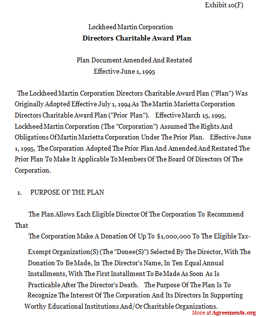 DIRECTOR CHARITABLE AWARD PLAN Agreement