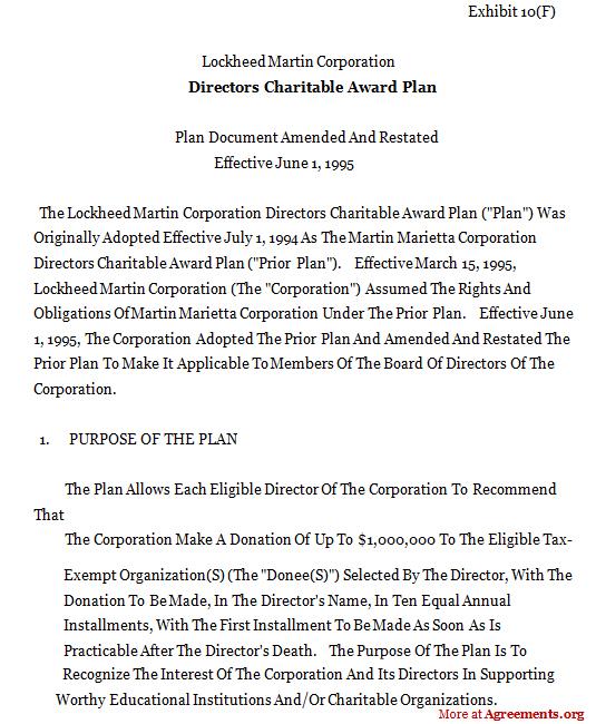 DIRECTOR CHARITABLE AWARD PLAN Agreement