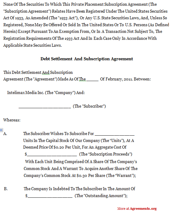Debt Settlement And Subscription Agreement