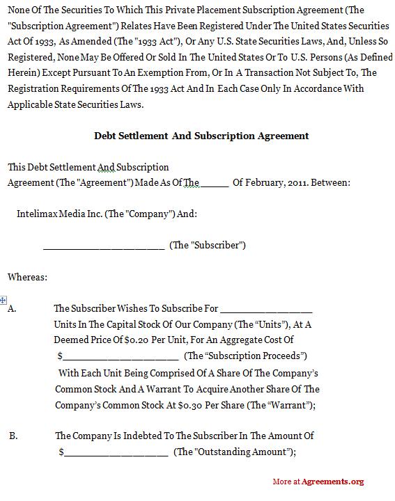 Debt Settlement And Subscription Agreement
