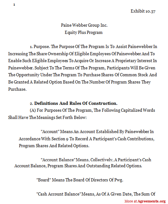 Definitions And Rules of Construction Agreement