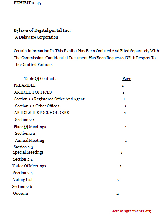 Delaware Corporation Agreement