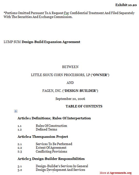 Design-Build Expansion Agreement