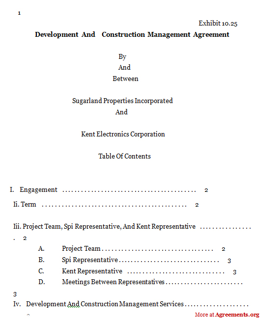 Development & Construction Mgmt Agreement,Sample Development
