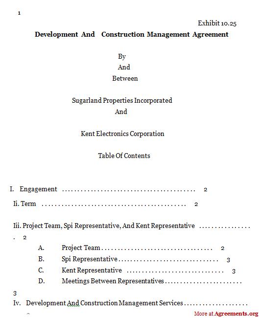Development & Construction MGMT Agreement
