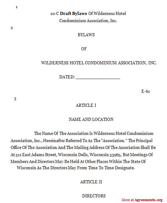 Draft Bylaws Agreement