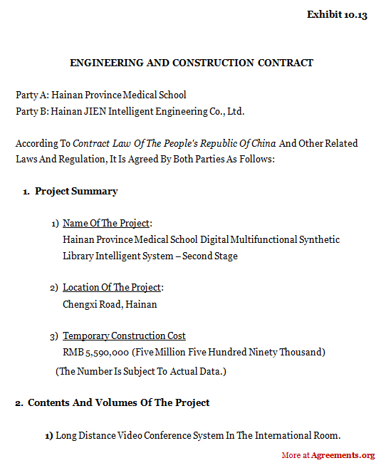 Beau ENGINEERING AND CONSTRUCTION CONTRACT Agreement