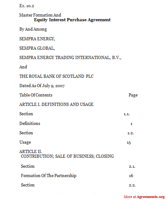Download Equity Interest Purchase Agreement Template