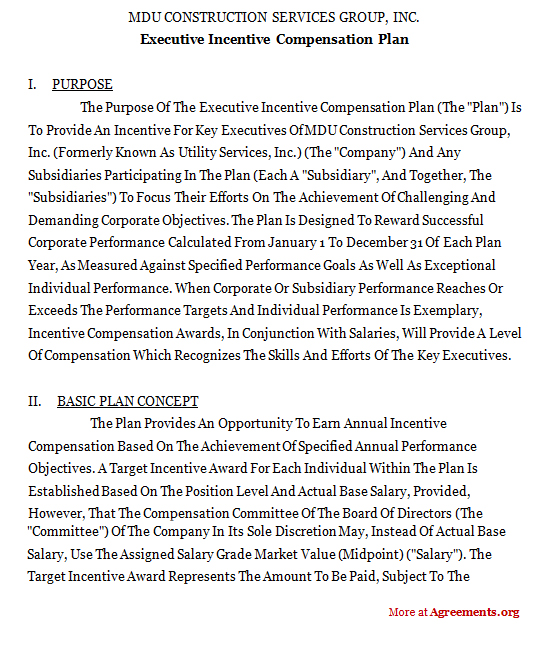 Executive Incentive Compensation Plan AgreementSample Executive