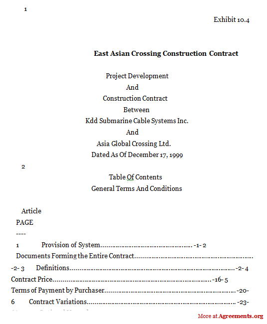 East Asia Crossing-Construction Contract Agreement,Sample East