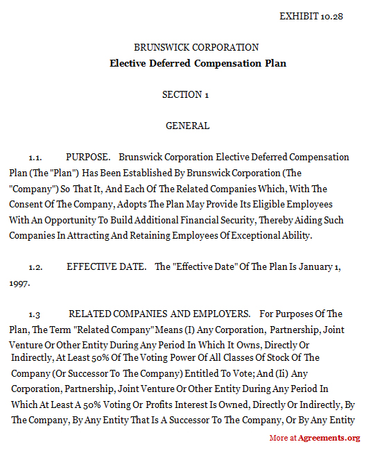 Elective Deferred Compensation Plan Agreement