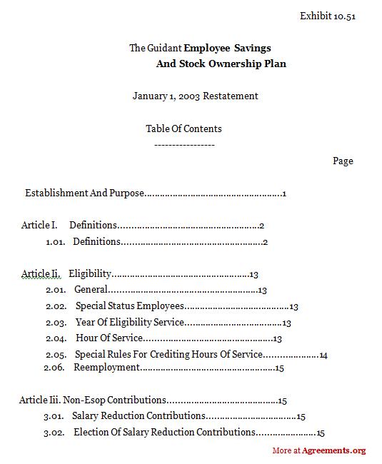 Employee Savings And Stock Ownership Plan Agreementsample Employee