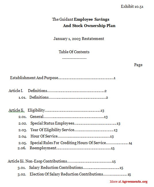 Employee Savings And Stock Ownership Plan Agreement