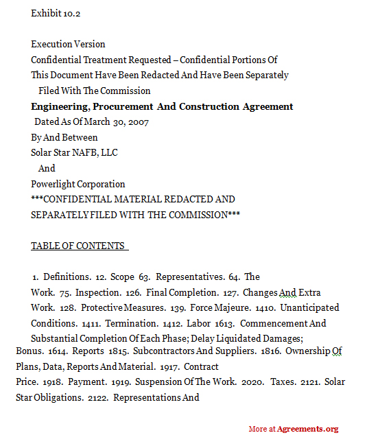 Engineering, Procurement & Construction Agreement,Sample