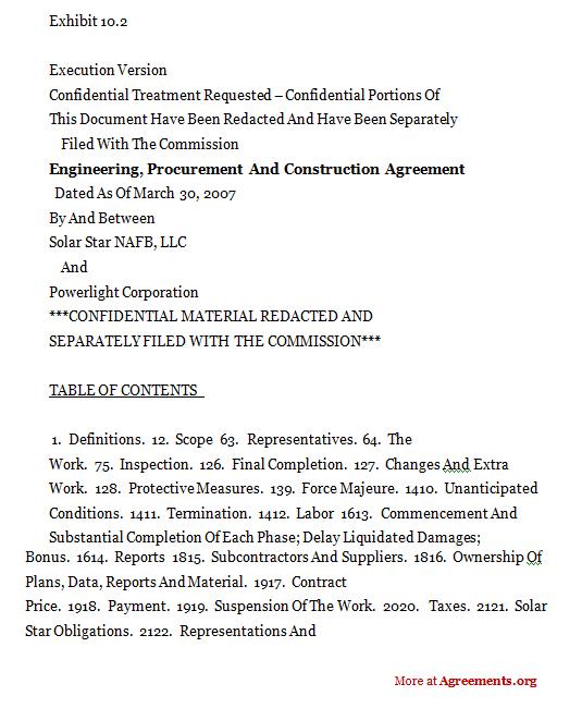 Engineering, Procurement & Construction Agreement