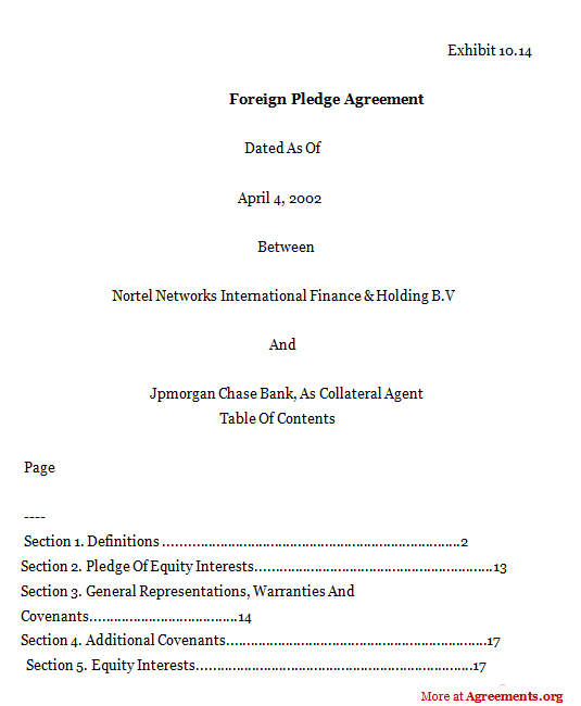 FOREIGN PLEDGE AGREEMENT