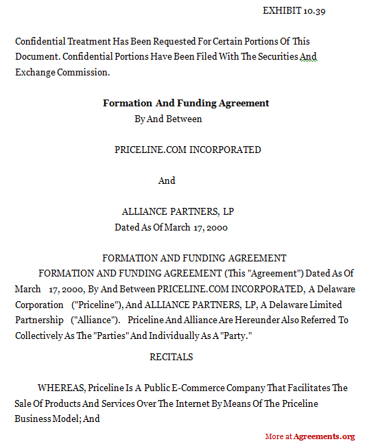 FORMATION AND FUNDING AGREEMENT