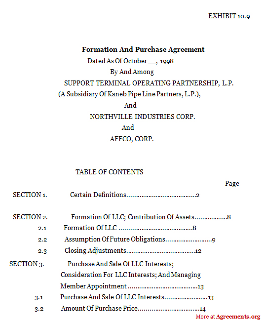 FORMATION AND PURCHASE AGREEMENT