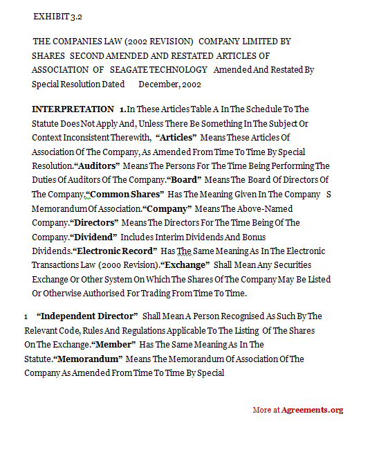 Form Of 2nd Amended And Restated Articles Of Association Agreement