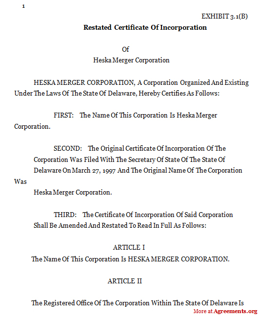 Form Of Restated Cert Agreement