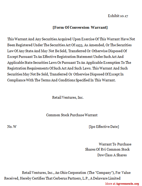 Form of Conversion Warrant Agreement