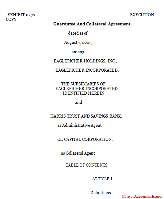 Download Guarantee and Collateral Agreement Template