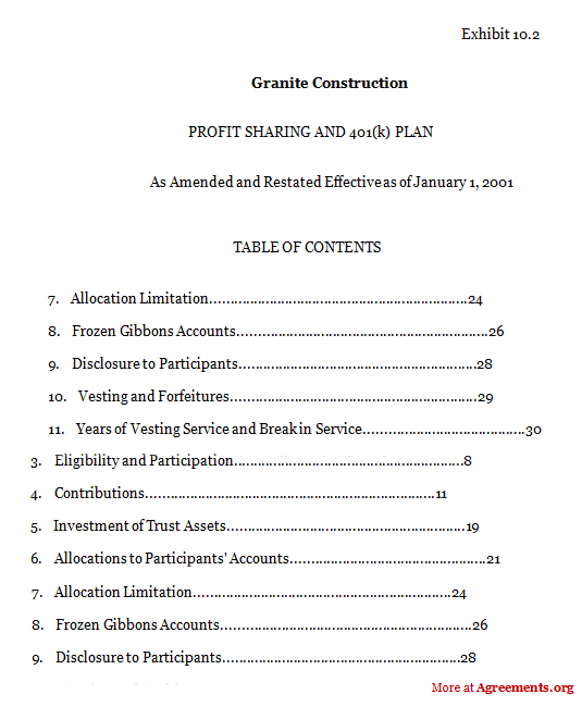 Granite Construction Agreement