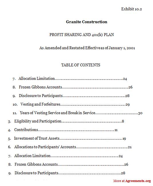 Granite Construction Agreement