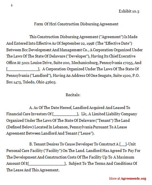 Hcri Construction Disbursing Agreementsample Hcri Construction