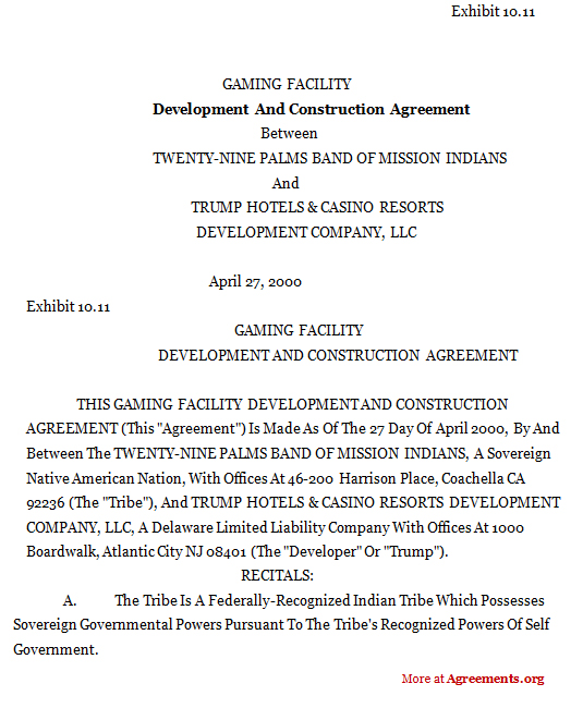 development and construction agreement