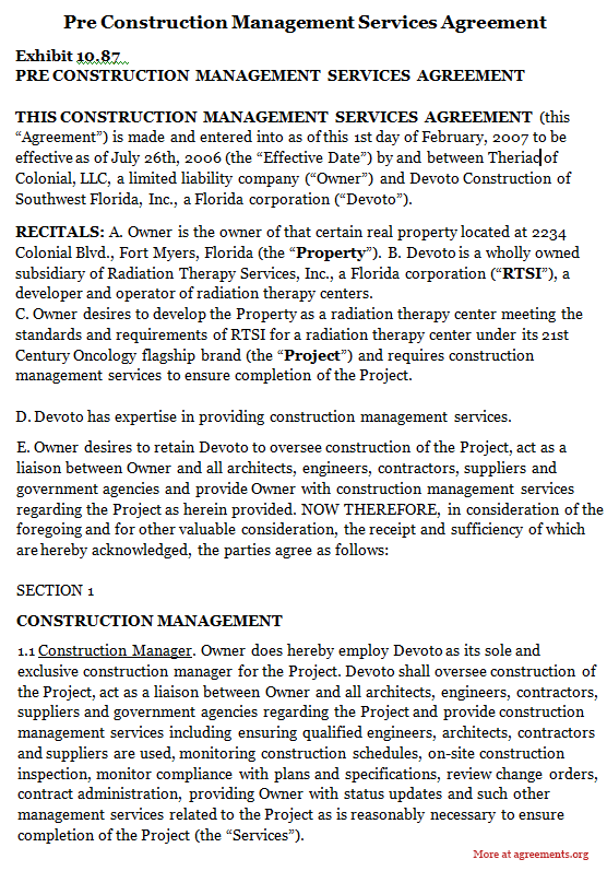 Pre Construction Management Services Agreement