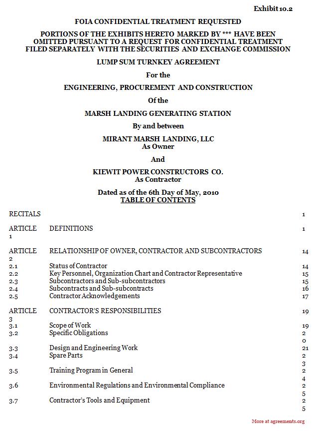 Procurement and Construction Agreement