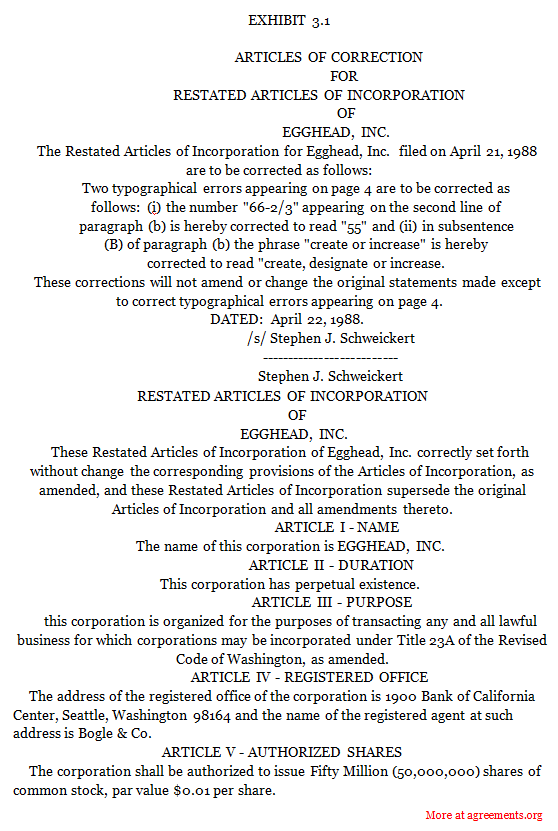 Restated Articles of Incorporation Agreement