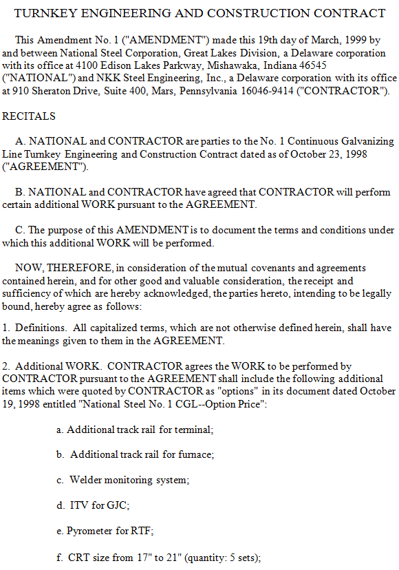 Turnkey Engineering And Construction ContractSample Turnkey - Building contractor agreement template