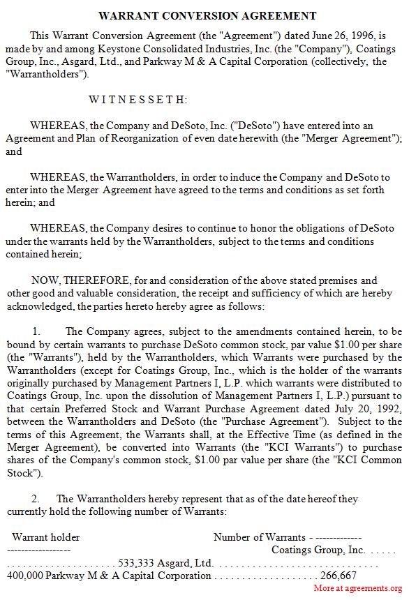 Warrant Conversion Agreement
